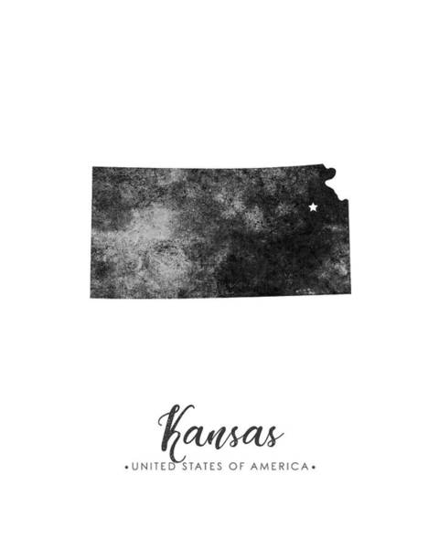 Wall Art - Mixed Media - Kansas State Map Art - Grunge Silhouette by Studio Grafiikka