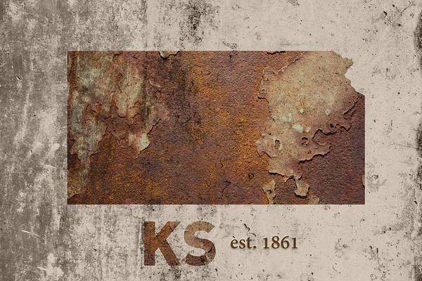 Topeka Wall Art - Mixed Media - Kansas State Map Industrial Rusted Metal On Cement Wall With Founding Date Series 040 by Design Turnpike