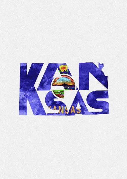 Topeka Wall Art - Digital Art - Kansas Typographic Map Flag by Inspirowl Design