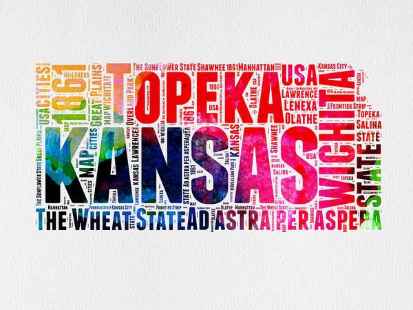 Topeka Wall Art - Digital Art - Kansas Watercolor Word Map by Naxart Studio