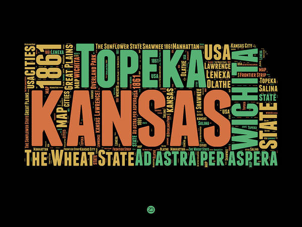 Kansas Digital Art - Kansas Word Cloud Map 1 by Naxart Studio
