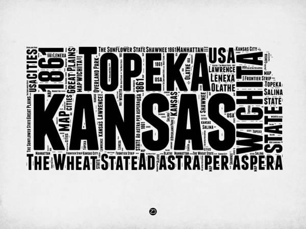 Topeka Wall Art - Digital Art - Kansas Word Cloud Map 2 by Naxart Studio