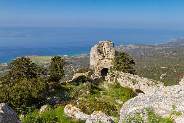 Stone Wall Art - Photograph - Kantara Castle Oversees Mediterranean Sea 2 by Iordanis Pallikaras