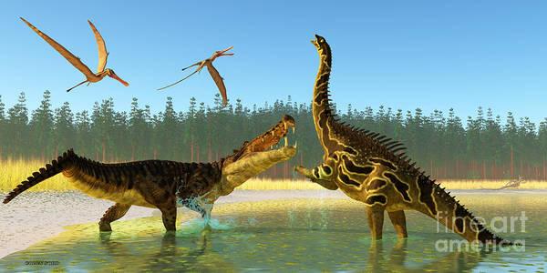 Vertebrate Painting - Kaprosuchus Swamp by Corey Ford