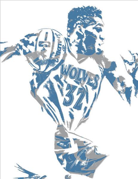 Wall Art - Mixed Media - Karl Anthony Towns Minnesota Timberwolves Pixel Art 8 by Joe Hamilton