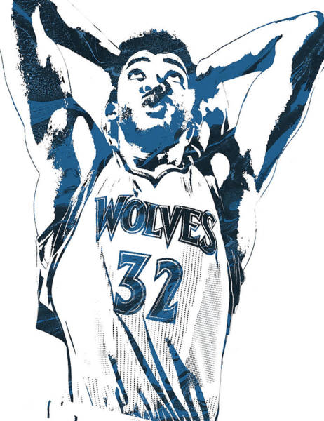 Wall Art - Mixed Media - Karl Anthony Towns Minnesota Timberwolves Pixel Art by Joe Hamilton