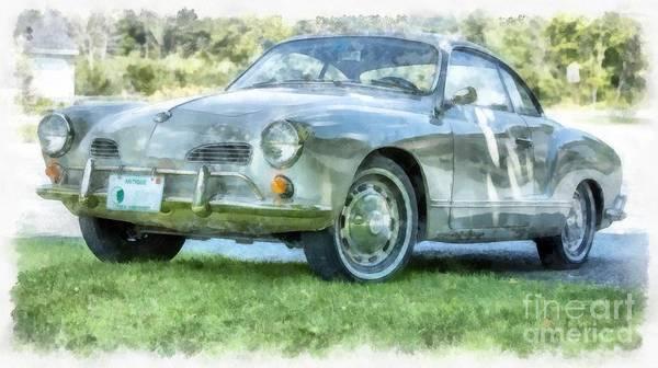 Volkswagen Photograph - Karmann Ghaia Vintage Car Watercolor by Edward Fielding