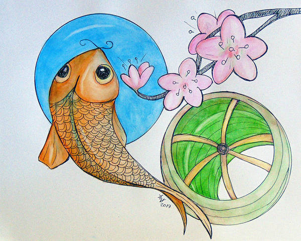 Painting - Karp And Cherry Blooms by Loretta Nash