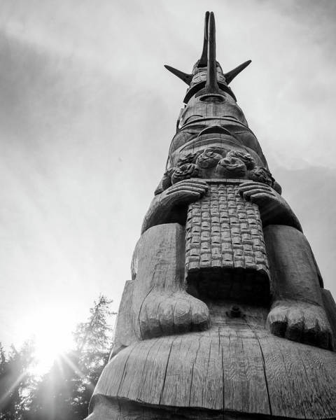 Photograph - Kasaan Totem Black And White by Ian Johnson