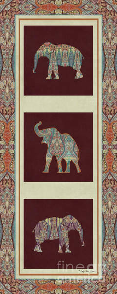Burgundy Painting - Kashmir Elephants - Vintage Style Patterned Tribal Boho Chic Art by Audrey Jeanne Roberts