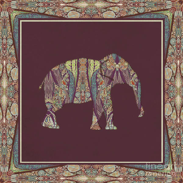 Burgundy Painting - Kashmir Patterned Elephant 2 - Boho Tribal Home Decor  by Audrey Jeanne Roberts