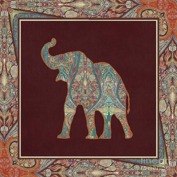 Burgundy Painting - Kashmir Patterned Elephant 3 - Boho Tribal Home Decor by Audrey Jeanne Roberts