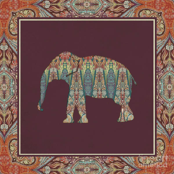 Burgundy Painting - Kashmir Patterned Elephant - Boho Tribal Home Decor  by Audrey Jeanne Roberts