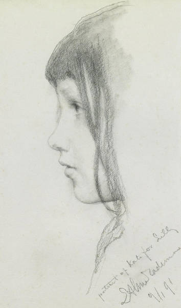 Females Drawing - Kate Millet, January 1891 by Lawrence Alma Tadema
