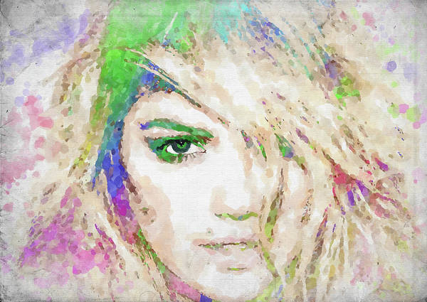 Wall Art - Photograph - Kate Upton Watercolor by Ricky Barnard