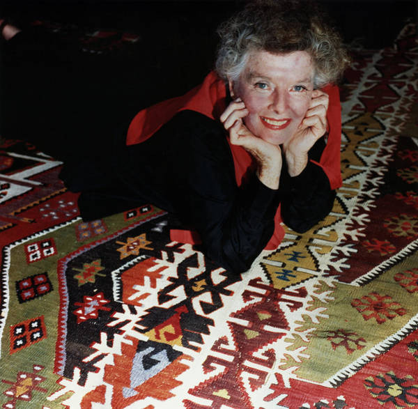 1981 Photograph - Katharine Hepburn Lying On Rug by Horst P Horst