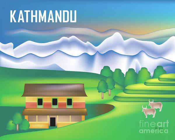 Wall Art - Digital Art - Kathmandu Nepal Horizontal Scene by Karen Young