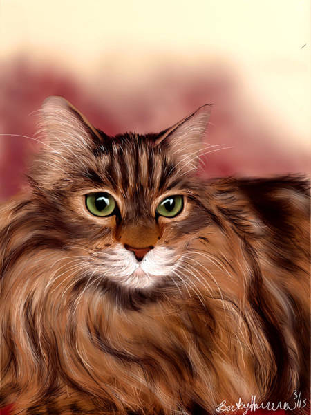 Painting - Katie- Custom Cat Portrait by Becky Herrera