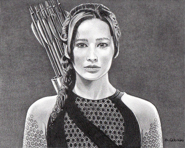 Drawing - Katniss by Daniel Carvalho