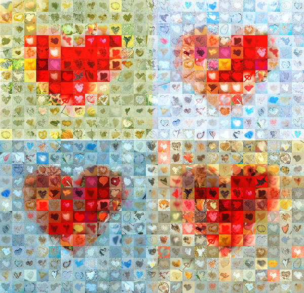 Mosaic Photograph - Katrina's Heart Wall - Custom Design Created For Extreme Makeover Home Edition On Abc by Boy Sees Hearts