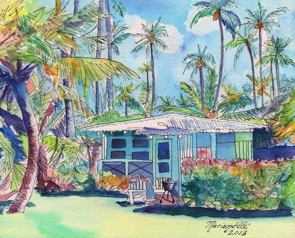 Kauai Blue Cottage 2 Art Print