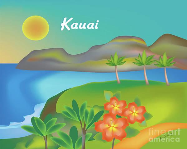 Lagoon Digital Art - Kauai Hawaii Horizontal Scene by Karen Young