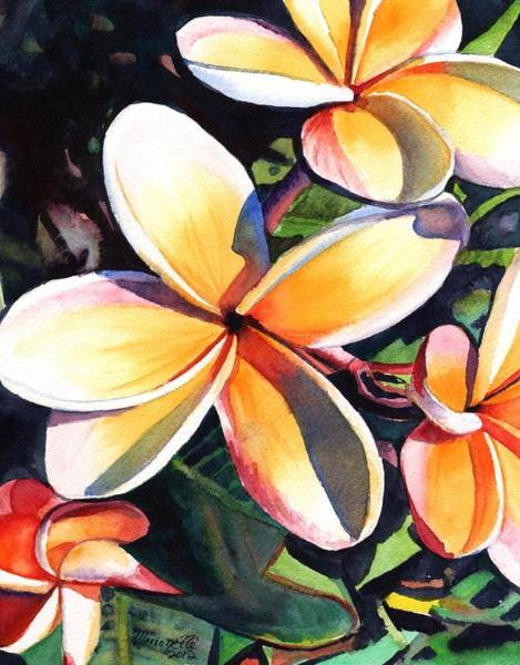 Hawaiian Wall Art - Painting - Kauai Rainbow Plumeria by Marionette Taboniar