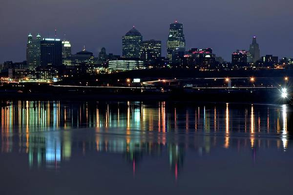 In Law Photograph - Kaw Point Night Lights by Frozen in Time Fine Art Photography