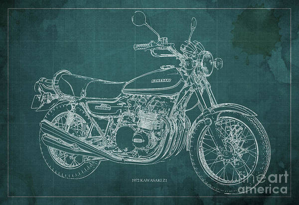 Arte Digital Art - Kawasaki Motorcycle Blueprint, Mid Century Art Print by Drawspots Illustrations