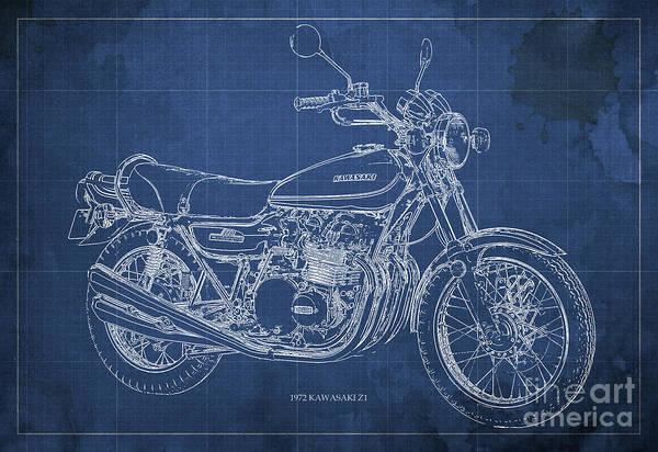 Arte Digital Art - Kawasaki Motorcycle Blueprint, Mid Century Blue Art Print by Drawspots Illustrations