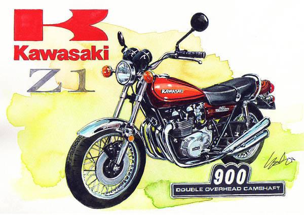 1972 Wall Art - Painting - Kawasaki Z1 by Yoshiharu Miyakawa