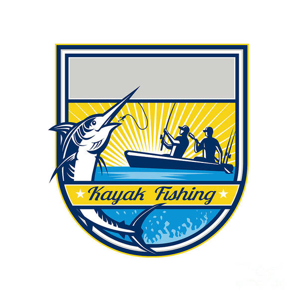 Wall Art - Digital Art - Kayak Fishing Blue Marlin Badge by Aloysius Patrimonio