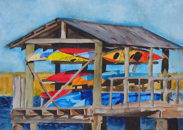Jekyll Island Painting - Kayak Rainbow by Jean Blackmer