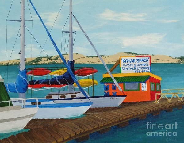 Morro Bay Painting - Kayak Shack Morro Bay California by Katherine Young-Beck