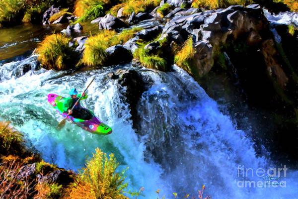 Mixed Media - Kayak Steelhead Falls by David Millenheft