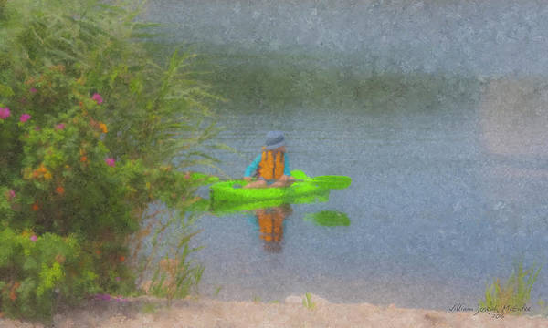 Painting - Kayaker Looking Back by Bill McEntee