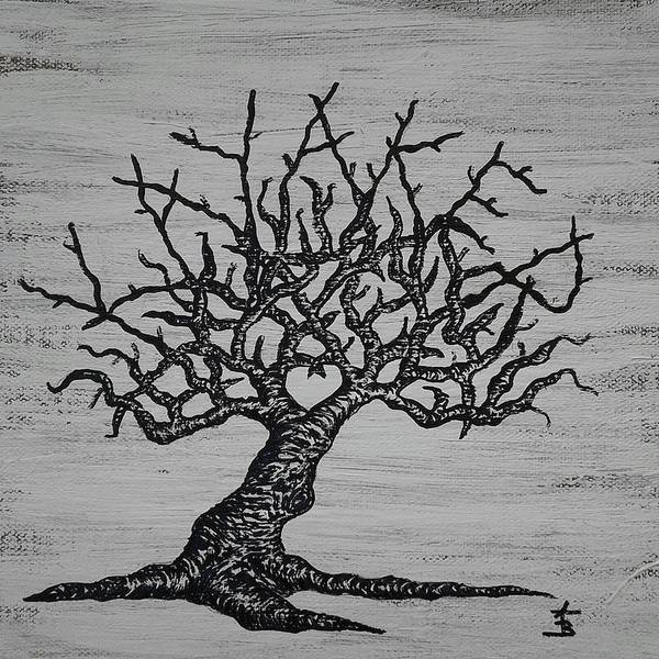 Drawing - Kayaker Love Tree by Aaron Bombalicki