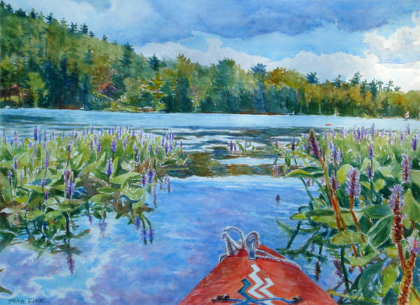 Adirondack Mountains Painting - Kayaking At Paradox Lake by Mira Fink