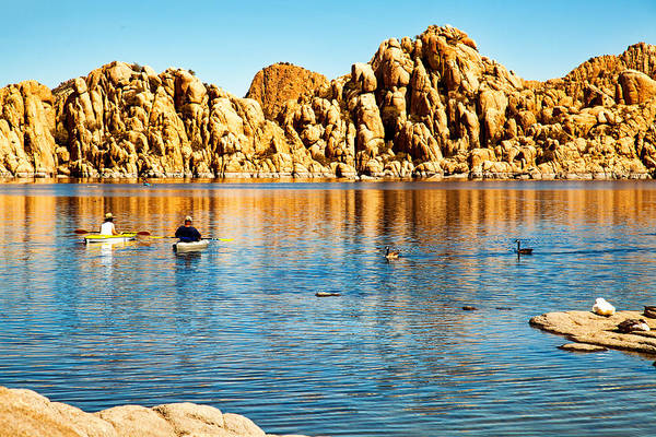 Wall Art - Photograph - Kayaking On Watson Lake In Prescott Arizona by Susan Schmitz