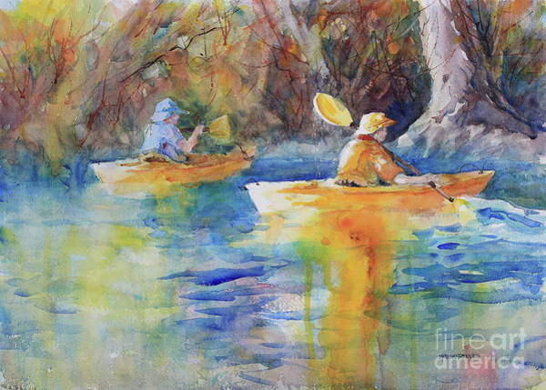 Central Texas Painting - Kayaking The Guadalupe by Marsha Reeves