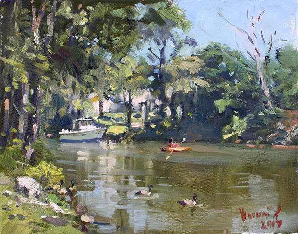 Lake House Painting - Kayaking by Ylli Haruni