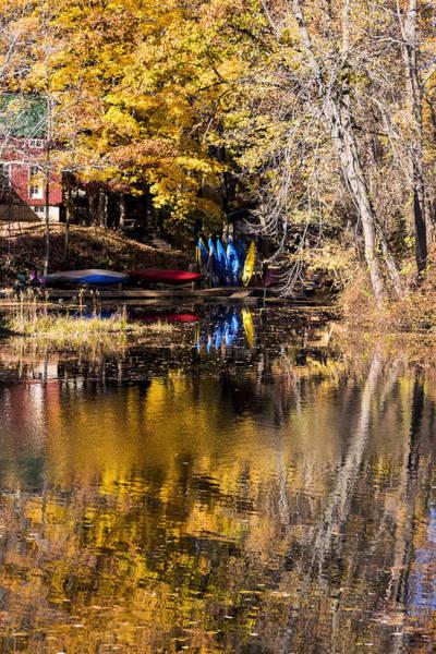Photograph - Kayaks In Autumn by Tom Singleton