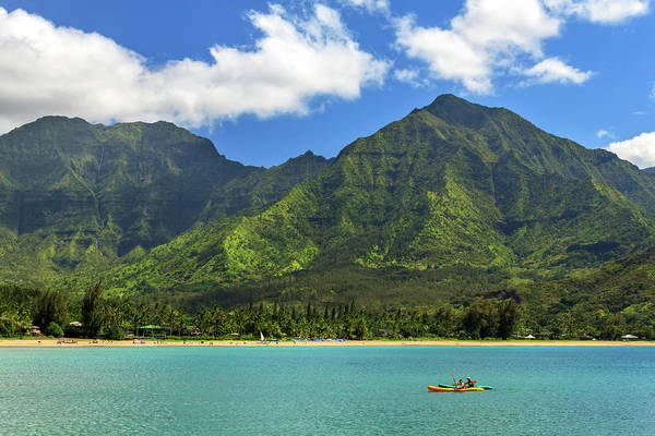 Kayaks In Hanalei Bay Art Print