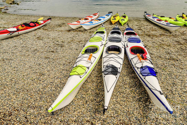 Wall Art - Photograph - Kayaks On The Deep Cove Beach In North Vancouver, Canada by Viktor Birkus