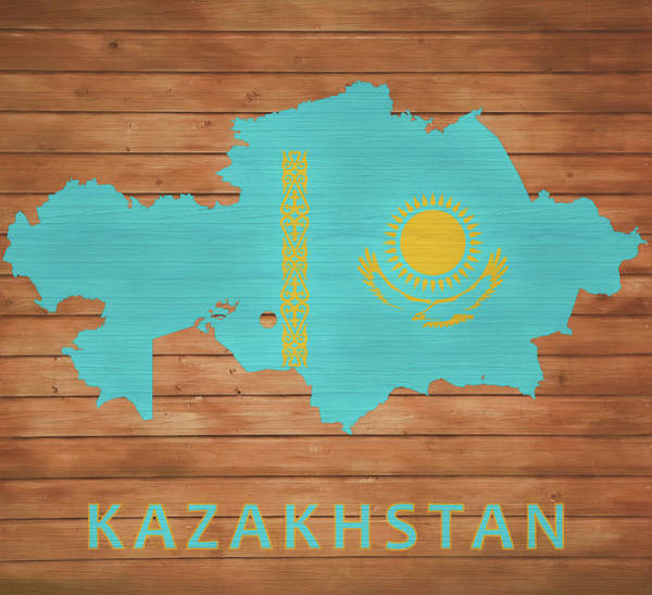 Turkish Mixed Media - Kazakhstan Rustic Map On Wood by Dan Sproul