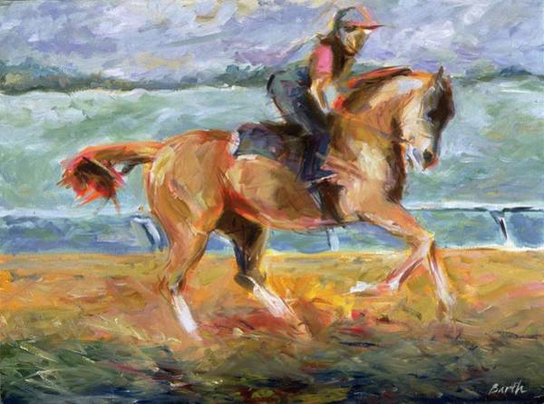 Jogging Painting - Keeneland Canter by Sandra Barth