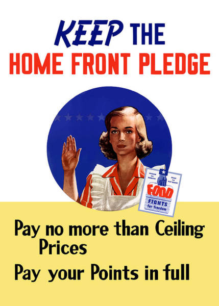 Conservation Wall Art - Painting - Keep The Home Front Pledge by War Is Hell Store
