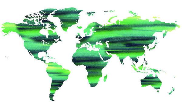 Painting - Keep The World Green Watercolor Map by Irina Sztukowski