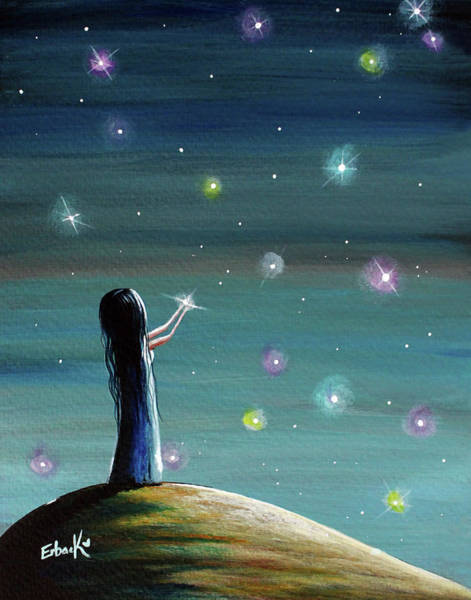 Wall Art - Painting - Keeping Her Dreams Alive Fantasy Painting by Erback Art