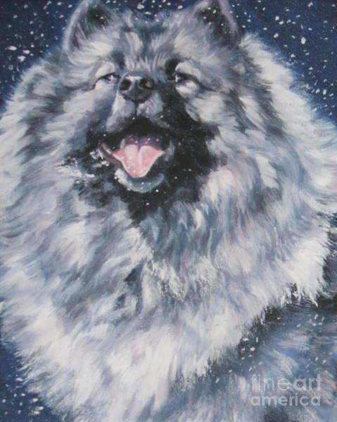 Pup Painting - Keeshond In Snow by Lee Ann Shepard